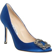 🐯 MANOLO BLAHNIK Women's Hangisi Jewel Pump: Size 38: Blue Satin 🐯