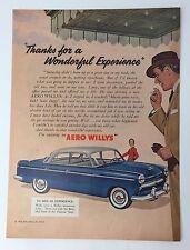 Original Print Ad 1954 AERO WILYS Thanks for Wonderful Experience Artwork Car