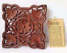 MID CENTURY VINTAGE S.S. SARNA w/tag Hand Carved SHESHAM Wood Gems Mini Platform