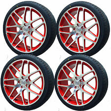 "4 18"" Red Alloy Wheels 2554518 Tyres VW T5 Transporter T6 5x120  x4 BK170"