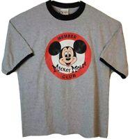 Mickey Mouse Club Member Mens XL Walt Disney World T-Shirt Gray Ringer Vintage
