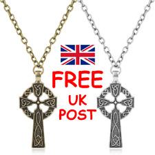 UNISEX CELTIC CROSS PENDANT NECKLACE Antique Bronze or Silver -  Irish Scottish