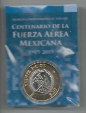 MEXICO 20 PESOS Original Blister 1915 - 2015 100 Fuerza Aerea Bimetallic UNC