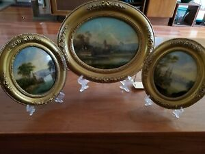 Set of Antique 19th Century Gouache On Paper Paintings, Signed, Original Frames