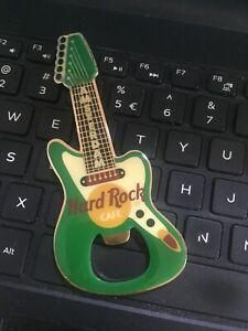 HARD ROCK CAFE AMSTERDAM  BOTTLE OPENER GREEN GUITAR MAGNET