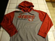 SF 49ers NFL Team Apparel Pullover Hoodie Sweatshirt Red & Gray Poly Mens Large