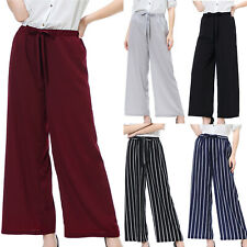 Women High Waisted Elastic Wide Leg Casual Baggy Cropped Pants Palazzo Trousers
