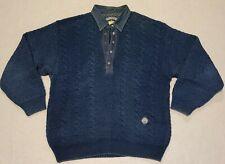 Vtg Blue Willi's Mens Sz Medium Knit Sweater Denim Trim Denmark Henley Snap Polo