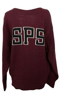 NEW, VARSITY ATHLETIC MEN'S BURGUNDY SWEATER WITH INTARSIA 'SPS', M