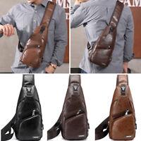 Herren Brusttasche Bodybag Crossbag Umhängetasche mit USB Port Sling Taschen