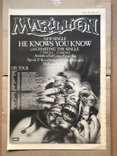 MARILLION HE KNOWS YOU KNOW POSTER SIZED original music press advert from 1983 w