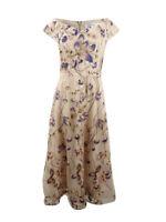 Kay Unger Women's Metallic Embroidered Midi Dress (12, Gold Multi)