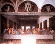 Jesus Christ The Last Supper by Leonardo Da Vinci Painting Real Canvas Art Print