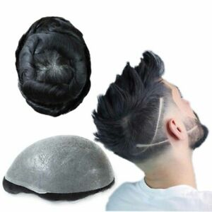 Super Natural Mens Hair Replacement System Thin Skin V Looped Black Toupee #1