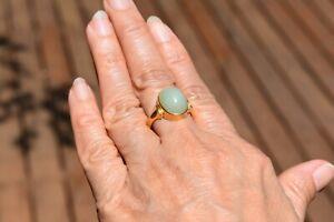 22ct 22k Gold Stunning Large Central Jadeite Jade Ring - Vtg. Chinese Hallmarked