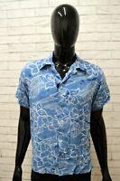 Camicia Blu Uomo REPLAY Taglia L Maglia Shirt Man Manica Corta Floreale Viscosa