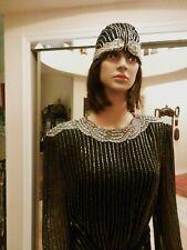 1960's Original Oleg Cassini Gown/Dress 100% Silk Beaded Sash & Hat