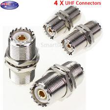 4 x UHF SO239 Female to Jack Female Bulkhead Straight Coax Connector Adapter