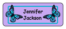 30 personalized butterfly name tag stickers, tags, school supply labels