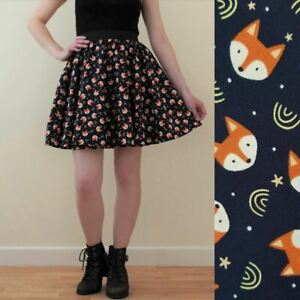Fox Print Mini Skirt - All Sizes - Skater Style Foxes Vixen Stars Navy Blue