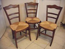 Lot de 3 chaises campagne Louis-Philippe paillées en chêne vintage
