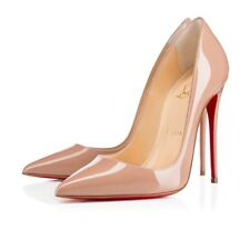 Wome's CHRISTIAN LOUBOUTIN So Kate Pointy Toe Nude Patent Pump Sz 37 1/2 /7.5 US