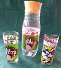 Looney Tunes Taz Tweety Sylvester Bugs Juice Decanter and Glasses, WB 1999