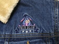 Disney Eeyore True Blue Denim Jacket Faux Fur Lined Coat Womens Size L - EUC