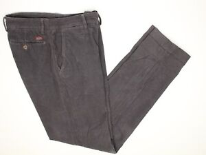 Masons Mens Corduroy Pants 34x34 Solid Gray Flat Front Cotton Casual Trousers 48