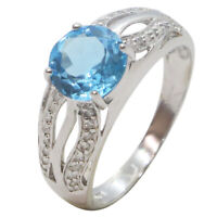 9ct White Gold Fancy Round Blue Topaz & Diamond Gemstone Split Shank Dress Ring