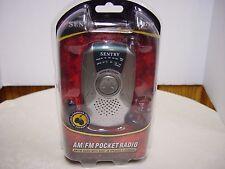 SENTRY PR799 AM/FM POCKET RADIO w B/UILT-IN SPEAKER & EARBUDS and Batteries