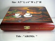 "Christmas Gift !! Humidor Cigar box with ""Aroma"" Oil Paintings on Top ."