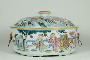 👀 Large Beautiful Antique Chinese Famille Rose Porcelain Bowl With Cover.