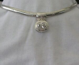 STERLING SILVER OMEGA 5ct SIMULATED DIAMOND PENDANT STATEMENT NECKLACE 50 GRAMS