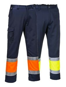 PORTWEST Hi Vis Two Tone Combat Trousers Safety Cargo Contrast Elasticated E049