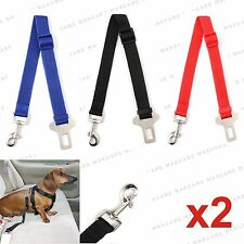 2x DOG PET CAR SAFETY SEAT BELT HARNESS RESTRAINT ADJUSTABLE LEAD TRAVEL CLIP