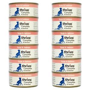12 x thrive Wet Cat Food Tuna & Salmon Fillet 100% Natural Complete Tin Fish 75g