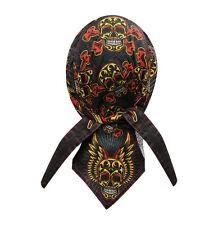 Muerte Sugar Tattoo Skull Doo Rag Headwrap Cap Sweatband Capsmith Biker Black