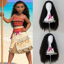 New Movie Moana Wig Girl's synthetic long curly brown color cosplay costume wig