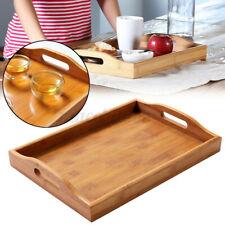 Plate Wooden Rectangular Solid Wood Serving Tray Tea Fruit Food Server Dishes UK