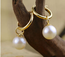PERFECT 9-10 mm round white Australia south sea pearl dangle earring 14K