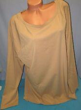 LAUREN RALPH LAUREN~3X~Women's Tan Stretch Long Sleeve Cotton Tee Shirt
