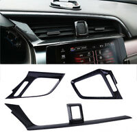 3x Carbon Fiber Interior Dashboard Air Vent Cover Trim For Honda Civic 2016 2017