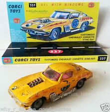 CORGI 337 CUSTOMIZED CHEVROLET CORVETTE STING RAY Diecast Model Car & Display