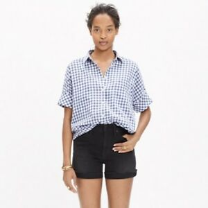 $70 MADEWELL Gingham Courier Shirt~Short Sleeve~Oversized~Cotton~Blue Check~XS