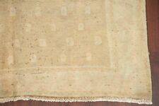 Antique Muted Golden Beige Sarouk Distressed Area Rug Hand-made Wool Carpet 5x8