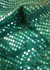 """Sequined Shiny Glitzy Dance Mesh Net Fabric Material Textile 58"""" width Blue"""