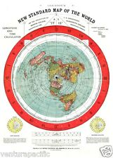 FLAT EARTH MAP : Alexander Gleason  : circa 1892 Archival Quality