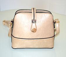 SAC à main BEIGE TAUPE pochette femme faux cuir doré bandoulière zip bolsa G97