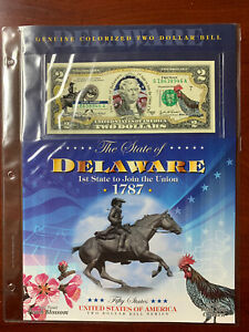 New England Mint Colorized $2 Dollar Bill Delaware